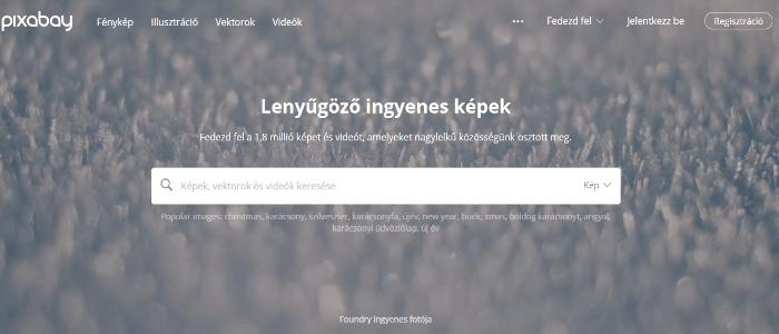 A Pixabay kezdőlapja