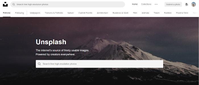 Az Unsplash kezdőlapja
